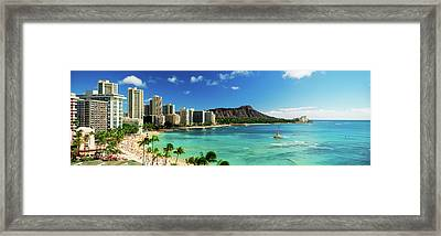 Hotels On The Beach, Waikiki Beach Framed Print by Panoramic Images