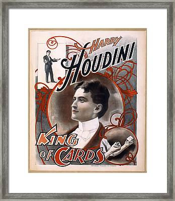Houdini King Of Cards  1895 Framed Print by Daniel Hagerman