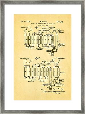 Houdry Catalytic Cracking Patent Art 1931 Framed Print by Ian Monk