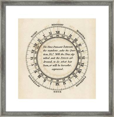 Hour Circle For Flag Telegraphy Framed Print by King's College London