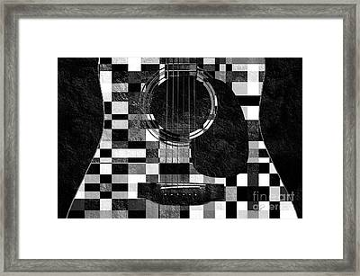 Hour Glass Guitar Random Bw Squares Framed Print by Andee Design