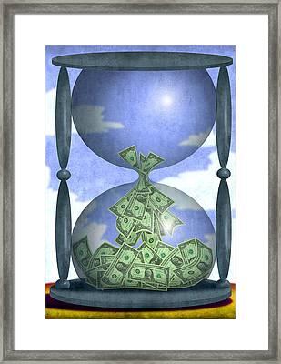 Hourglass Dollars Framed Print