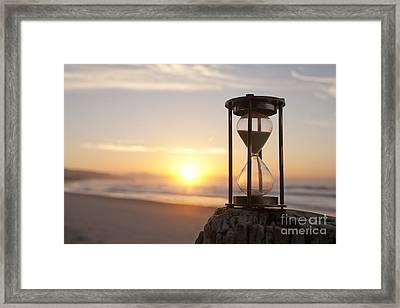 Hourglass Sand Timer Beach Sunrise Framed Print