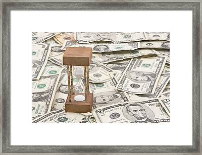 Hourglass Time Is Money Concept Framed Print by Keith Webber Jr