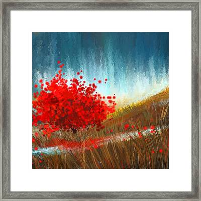 Hours Of Autumn- Turquoise And Red Framed Print by Lourry Legarde