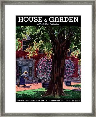 House & Garden Cover Illustration Of A Gardener Framed Print