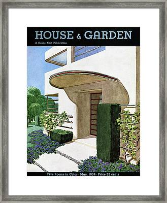 House & Garden Cover Illustration Of A Modern Framed Print