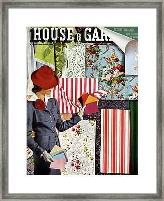 House & Garden Cover Illustration Of A Woman Framed Print