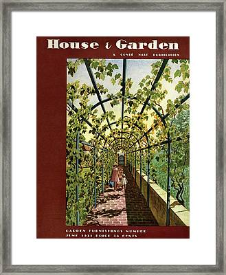 House & Garden Cover Illustration Of Young Girls Framed Print