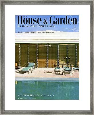 House & Garden Cover Of A Swimming Pool At Miami Framed Print by Rudi Rada
