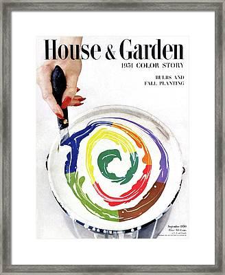 House & Garden Cover Of A Woman's Hand Stirring Framed Print by Herbert Matter