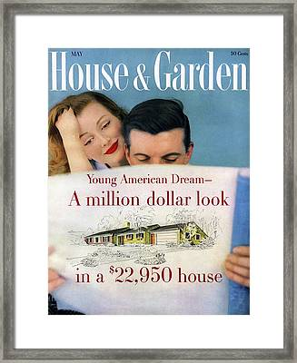 House & Garden Cover Of Young Couple Looking Framed Print by Karen Radkai