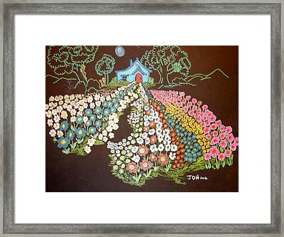 House And Flowers Framed Print