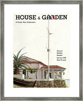 House And Garden Annual Building Number Cover Framed Print by Georges Lepape