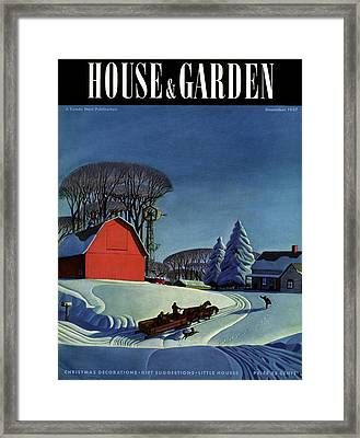 House And Garden Christmas Decoration Cover Framed Print