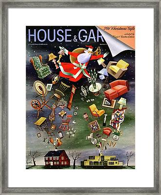 House And Garden Christmas Gifts Cover Framed Print by Constantin Alajalov