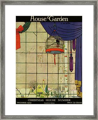 House And Garden Christmas House Number Cover Framed Print by H. George Brandt