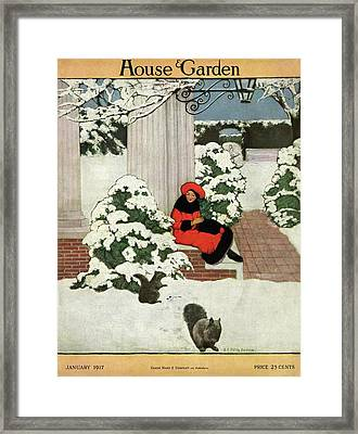House And Garden Cover Framed Print by Ethel Franklin Betts Baines