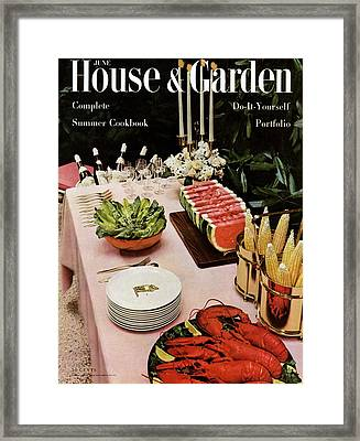 House And Garden Cover Featuring A Buffet Table Framed Print by Wiliam Grigsby