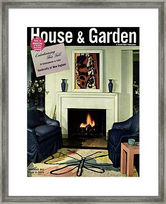 House And Garden Cover Featuring A Living Room Framed Print