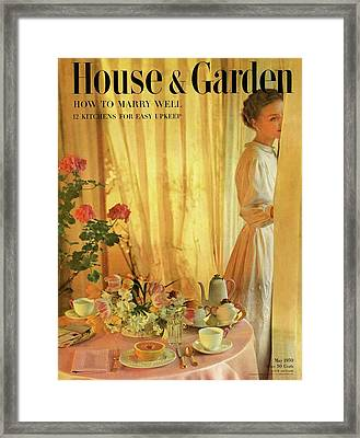 House And Garden Cover Featuring A Set Table Framed Print by Horst P. Horst