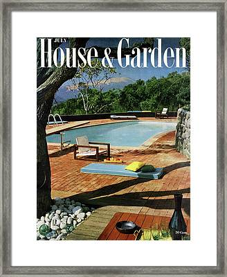 House And Garden Cover Featuring A Terrace Framed Print