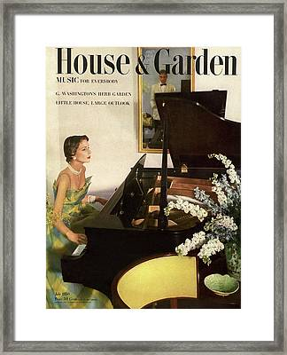 House And Garden Cover Featuring A Woman Playing Framed Print by Horst P. Horst