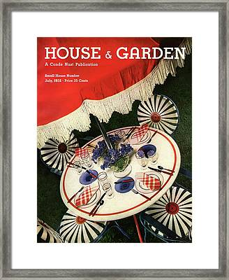 House And Garden Cover Featuring An Outdoor Table Framed Print by Anton Bruehl