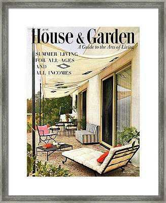 House And Garden Cover Of A Furnished Patio Framed Print