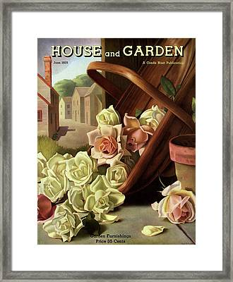 House And Garden Cover Of An Upturned Basket Framed Print by John C. E. Taylor