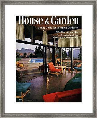 House And Garden Featuring A Living Room Framed Print