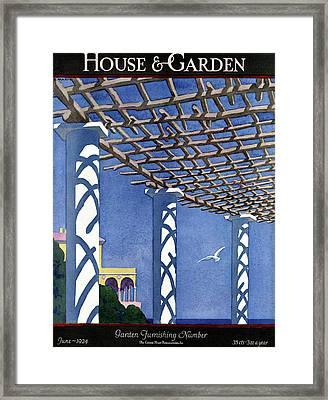 House And Garden Garden Furnishing Number Cover Framed Print by Andre E.  Marty