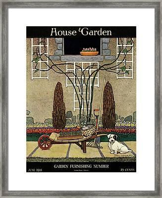 House And Garden Garden Furnishing Number Cover Framed Print by Charles Livingston Bull