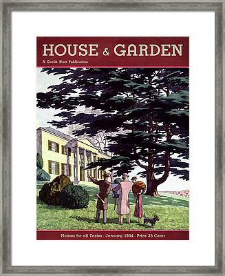 House And Garden Houses For All Tastes Cover Framed Print by Pierre Brissaud