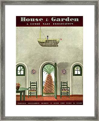House And Garden Interior Decoration Number Cover Framed Print by Georges Lepape