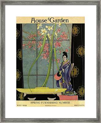 House And Garden Spring Furnishing Number Cover Framed Print by L. V. Carroll