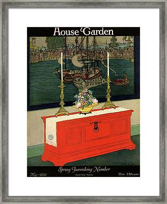 House And Garden Spring Furnishing Number Cover Framed Print by Lurelle Guild