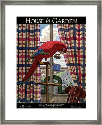 House And Garden Spring Furnishing Number Cover Framed Print by Pierre Brissaud