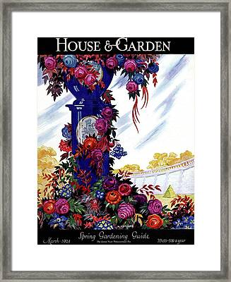 House And Garden Spring Gardening Guide Cover Framed Print by Nicholas Remisoff