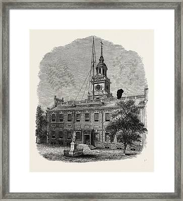 House At Philadelphia In Which The First Congresses Framed Print by American School