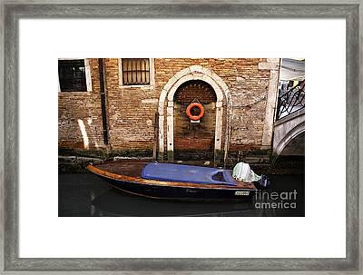 House Boat In Venice Framed Print