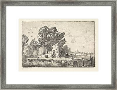 House By A Stone Bridge Into A River Landscape Framed Print by Artokoloro