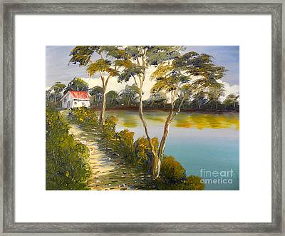 House By The Lake Framed Print by Pamela  Meredith