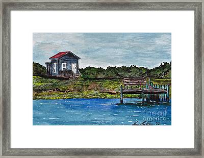 House By The Sea Framed Print by Sheena Pape