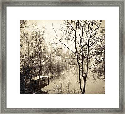 House Flooded Suburb Of Paris Seen Through Bare Trees Framed Print by Artokoloro