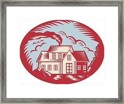 House Homestead Cottage Woodcut Framed Print