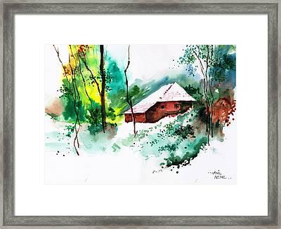 House In Greens 1 Framed Print by Anil Nene
