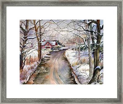 House In Snow Framed Print by Beth Kantor