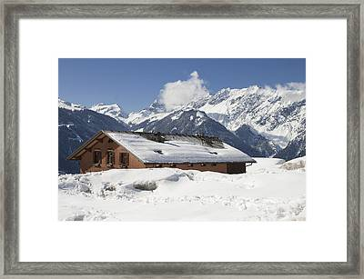 House In The Alps In Winter Framed Print by Matthias Hauser