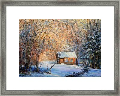 House In The Winter Forest  Framed Print